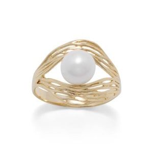 Jewelry - 14k Gold Plated Wave Cultured Freshwater PearlRing