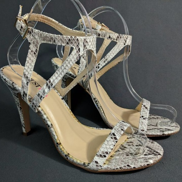 aaaeff46e077 JustFab Shoes - JustFab Britty Snake Print Strappy Heels Sandals