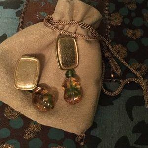 Jewelry - Post ear rings w glass bauble yellow w green thru