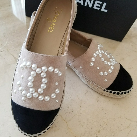 9811a0153 CHANEL Shoes | Auth Beige Black Suede Pearl Espadrilles 38 | Poshmark