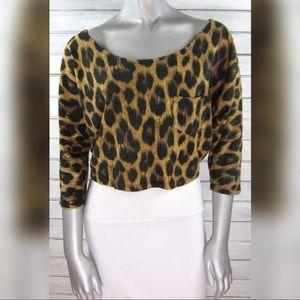Motel Rocks Leopard Print Oversize Crop T-Shirt XS