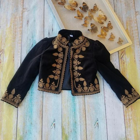 Balmain x H&M Shawl Collar Wool Metal Embroidery Jacket Militar Black, Gold  Blazer ...