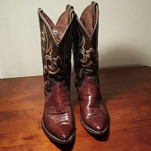 e444adfa699 Vintage Lizard Leather Brown Justin Cowboy Boots