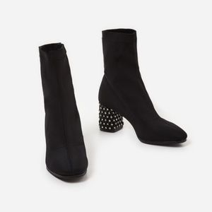 Black boots with jeweled heel - never worn