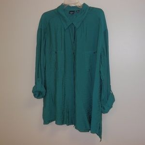 2X Westbound Woman Teal Button Down Top