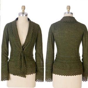 Anthro Green Crochet Tie Cardigan