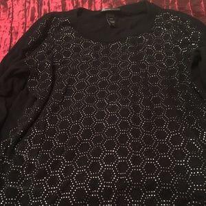 Scoop Neck Black sweater with cute metallic design