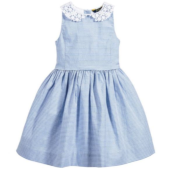 Polo Ralph Lauren Seersucker Lace Dress Girls