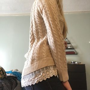 Knit Sweater with Lace Trim!