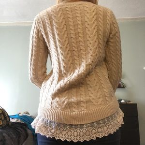 Monteau Sweaters - Knit Sweater with Lace Trim!