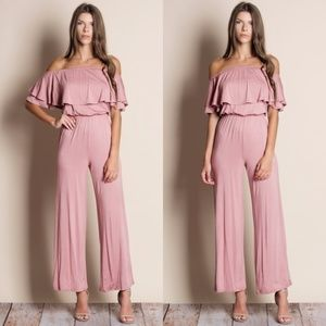 Pink Ruffle Off Shoulder Jumpsuit