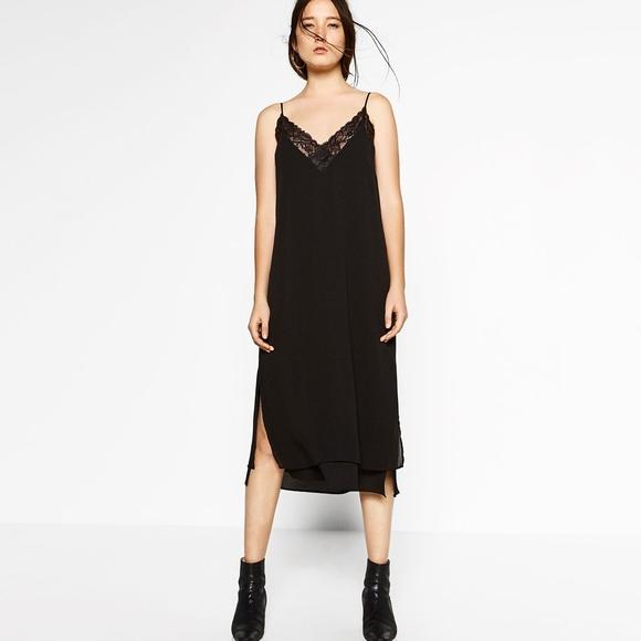651f9b351807 Zara Dresses | Long Slip Dress With Lace S Black Nwt | Poshmark