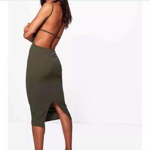 Dresses & Skirts - Olive green backless dress