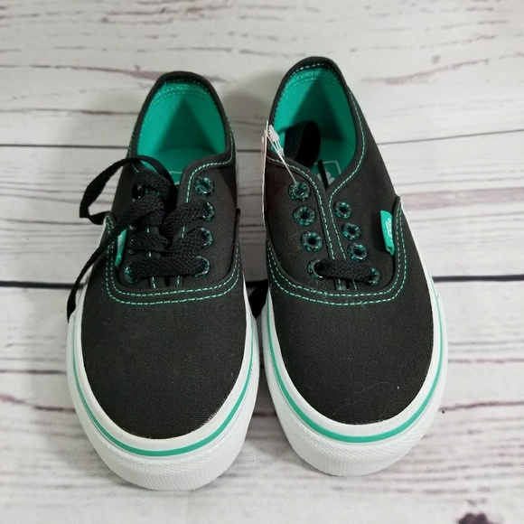 0a87be9d3c New VANS Black Green Authentic Kids Size 11