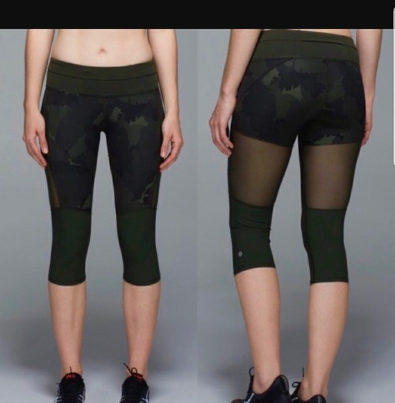 60e07a4e12 lululemon athletica Pants | Lululemon Green Camo Mesh Crop Leggings ...
