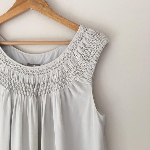 e33aa8acd76 J. Jill Dresses   Skirts - J. Jill Silver Smocked Silk Shift Dress Size