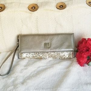 Style&Co Gray-Gold Sequin Wristlet/Wallet NWOT