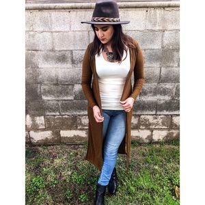 Sweaters - Golden Haze Slit Longline Cardigan