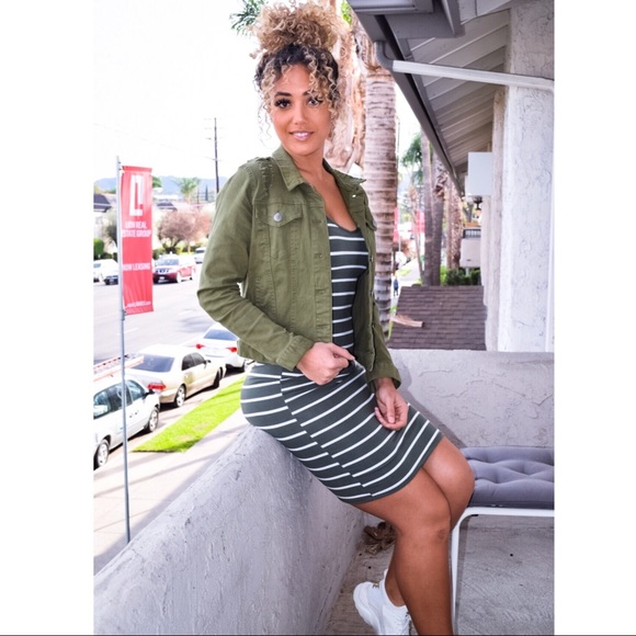 Dresses & Skirts - •FINAL PRICE SALE• Olive stripe dress