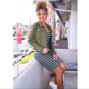 Dresses - •FINAL PRICE SALE• Olive stripe dress