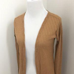 Sweaters - Camel Longline Slit Cardigan