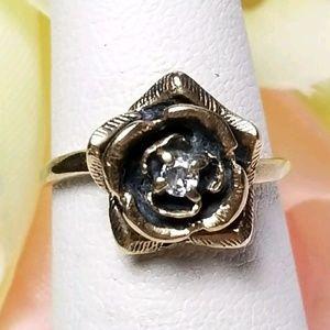 Jewelry - Flower diamond ring 10k yellow gold size 4.5