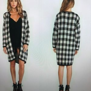 For Love and Lemons Plaid Sweater Coat