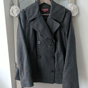 Grey pea coat L