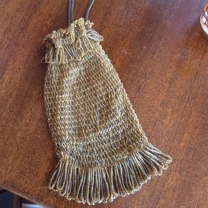 Antique Hand Beaded Flapper Girl Pouch Purse