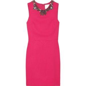 hot pink sleeveless Crystal-embellished silk dress