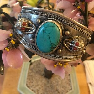 Vintage dragon turquoise cuff