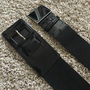 Ann Taylor Belt Bundle Black Patent Stretch