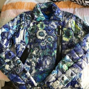 Just cavalli puffer jacket floral blue