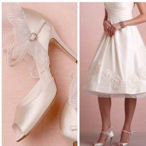 Wedding white satin ruffle peep-toe pumps