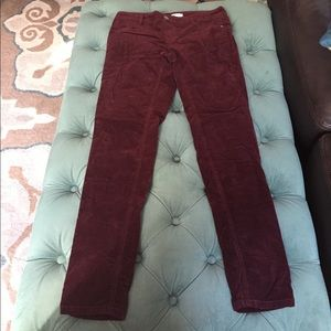 Burgundy Skinny Leg Pants