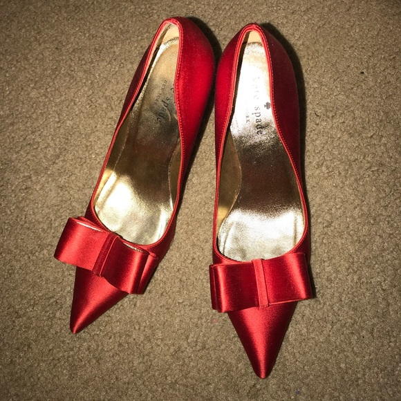 1976aa2ba9c7 kate spade Shoes - KATE SPADE Red satin bow heels dress shoes pumps