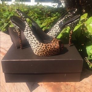 Gucci Pony Hair Leopard Print platform high heels