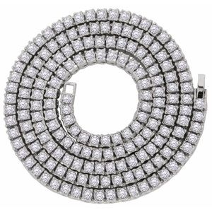 """Silver 1 Row Cz Tennis Chain 5mm 30"""" Necklace"""