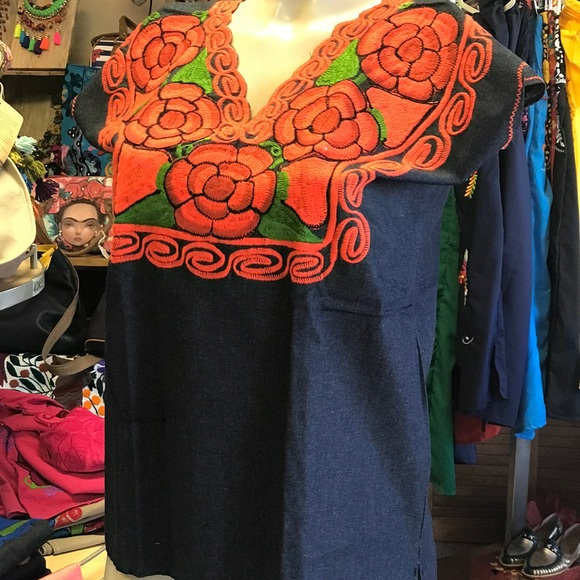 Cielito Lindo Tops - Denim Floral Embroidered Mexican Blouse Top Medium
