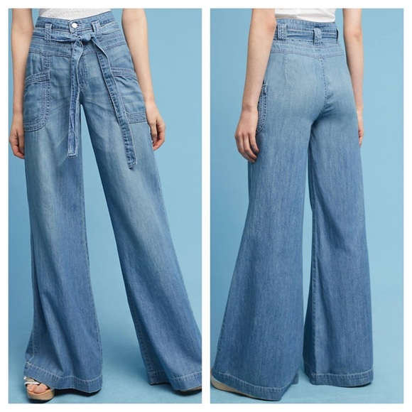 1772eaa5df96e Anthropologie Denim - Pilcro Jeans Ultra High Rise Tie Waist Wide Leg 27