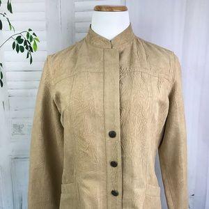 Chico's Women's Faux Suede Jacket Large Tan