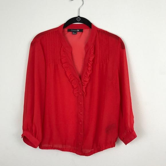 Forever 21 Tops Red Sheer Dressy Blouse Poshmark