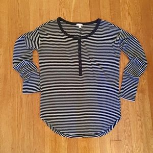 Gap Navy Blue and White Striped Thermal Henley