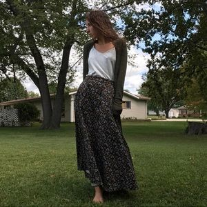 Vintage Long button Down Floral Corduroy Skirt