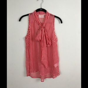 MOON Collection red and white checkered top