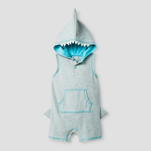 54e2e70b5 Cat & Jack One Pieces | Cat Jack Shark Romper Nwt | Poshmark