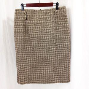 Antonio Melani Brown Tan Wool Blend Pencil Skirt