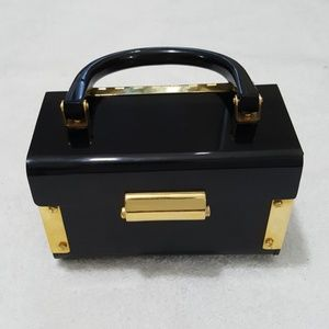 Handbags - Black & Gold Acrylic Hard Case Clutch