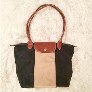 Black and Beige Longchamp Bag