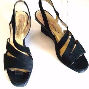 Yves Saint Laurent Suede Black Wedge Sandal